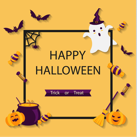Banner happy Halloween frame with a flat ghost, bats, spiders, candies, and pumpkin in long shadow style on orange background Illustration