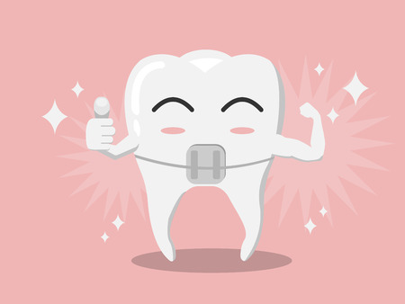 Vector cartoon whitening tooth brace thumbs up and muscle strain for show solidity in pink gum background and shining white effect, tooth care concept.