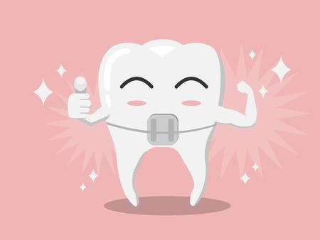 Vector de dibujos animados para blanquear dientes cervicales pulgares hacia arriba y la tensión muscular para mostrar la solidez en el fondo de goma rosa y brillante efecto blanco, concepto de cuidado de los dientes.