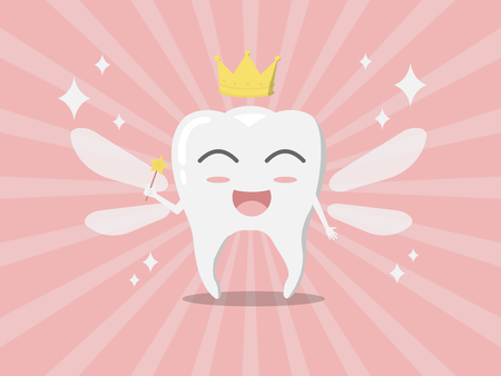 Vector cartoon whitening tooth fairy with wings,  golden crown and magic ward on pink shiny background, kid tooth concept.