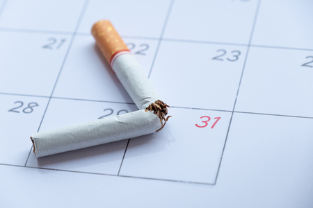 cigarette broken on calendar 31th may for world no tobacco day concept. Stock Photo