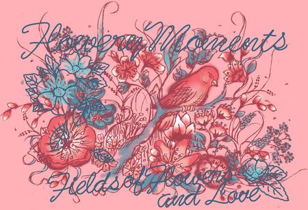 coil spring: Flower Bird Love background Stock Photo