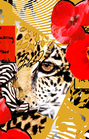 leopard skin and flowers photo