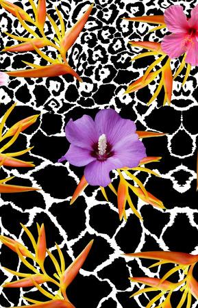 giraffe backround flowers print