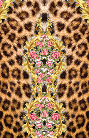 leopard and flowers backround