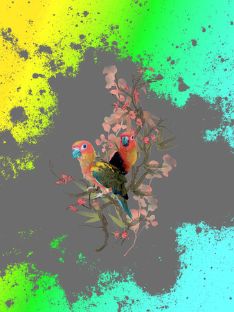 backround: Tropical flower parrot backround Stock Photo
