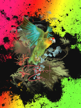 tucan: Tropical flower parrot backround Stock Photo