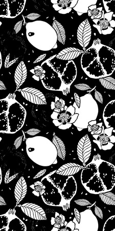 tropical fruits: Black Tropical fruits garden pattern.