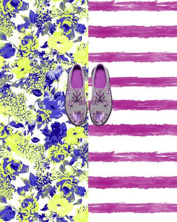 backround: flower shoes  backround Stock Photo