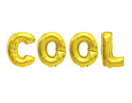 Word cool in english alphabet from yellow (Golden) balloons on a white background. holidays and education.