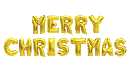 Word merry christmas in english alphabet from yellow (Golden) balloons on a white background. holidays and education. Archivio Fotografico