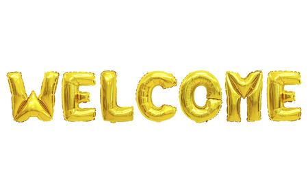 Word welcome in english alphabet from yellow (Golden) balloons on a white background. holidays and education.