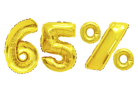 sixty five percent from golden color balloons on isolated background. discounts and sales