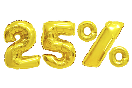 twenty five percent from golden color balloons on isolated background. discounts and sales