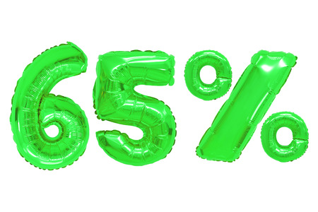 sixty five percent from green color balloons on isolated background. discounts and sales