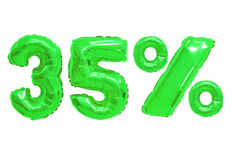 thirty five percent from green color balloons on isolated background. discounts and sales