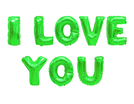 Word i love you in english alphabet from color green balloons on a white background. holidays and education. Standard-Bild