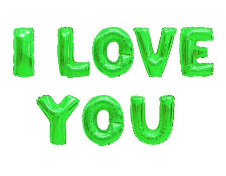 Wort ich liebe dich im englischen Alphabet aus farbigen grünen Ballons auf weißem Hintergrund. Urlaub und Ausbildung.