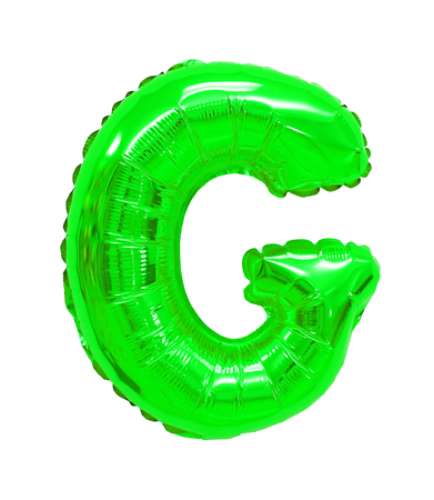 letter G green balloon on a white background 스톡 콘텐츠