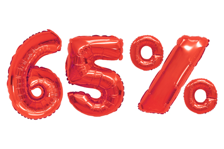 sixty five percent from red color balloons on isolated background. discounts and sales