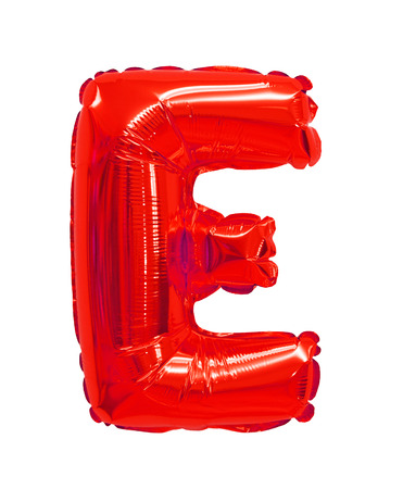 letter E red balloon on a white background