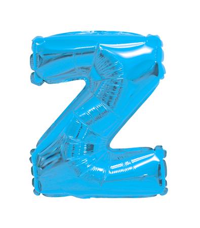 Letter Z English alphabet of balloons light blue on a white background Stockfoto