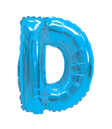 letter D light blue balloon on a white background Stock fotó