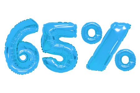 sixty five percent from blue color balloons on isolated background. discounts and sales