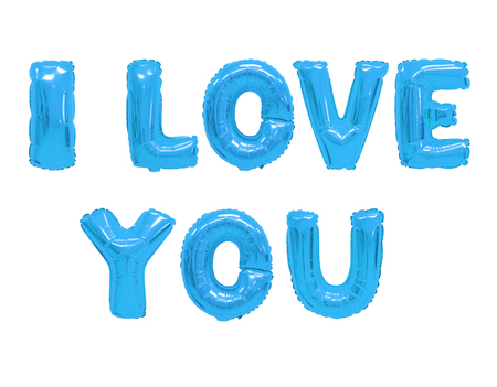 Word i love you in english alphabet from blue balloons on a white background. holidays and education. Stock Photo - 116872621