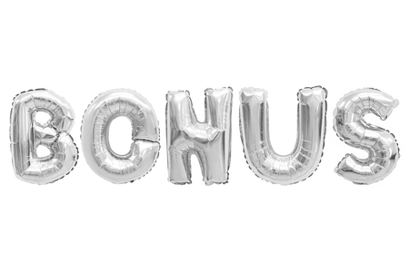 Word bonus in english alphabet from chrome balloons on a white background. holidays and education. Stock Photo