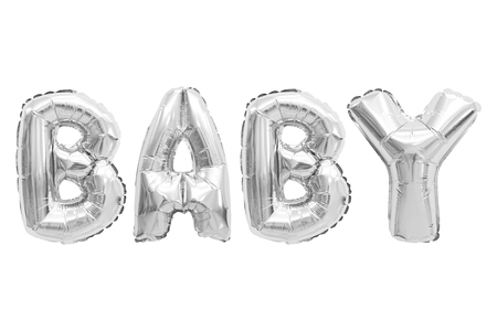 Word baby in english alphabet from chrome balloons on a white background. holidays and education.