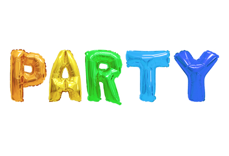 Word party in english alphabet from colors (rainbow) balloons on a white background. holidays and education.