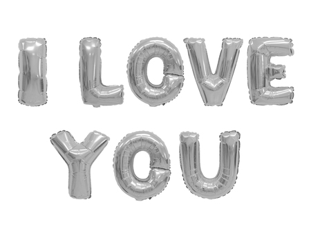 Word i love you in english alphabet from grey (chrome) balloons on a white background. holidays and education.