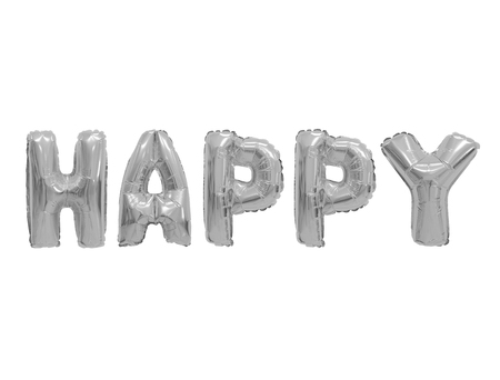 Word happy in english alphabet from grey (chrome) balloons on a white background. holidays and education.