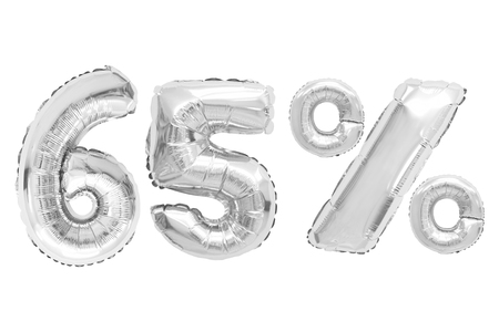 sixty five percent from chrome color balloons on isolated background. discounts and sales