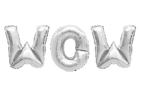 Word wow in english alphabet from chrome balloons on a white background. holidays and education.
