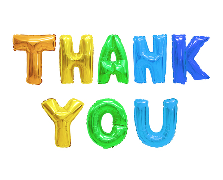Word thank you in english alphabet from colors (rainbow) balloons on a white background. holidays and education. Stockfoto