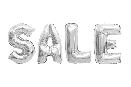 Word sale in english alphabet from chrome balloons on a white background. holidays and education.