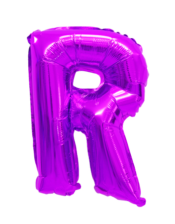 Letter R English alphabet purple, violet of balloons on a white background Stockfoto