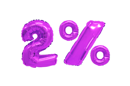 two percent from purple color balloons on isolated background. discounts and sales