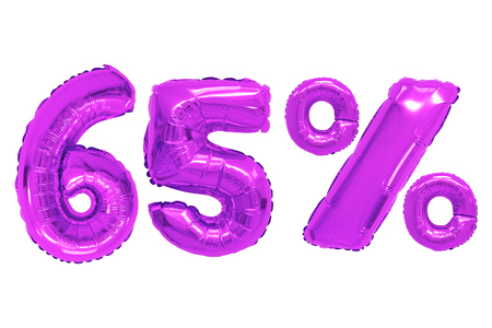 sixty five percent from purple color balloons on isolated background. discounts and sales