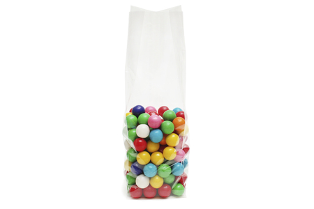 Cellophane bag for candy. White bag package template on isolated background. Фото со стока
