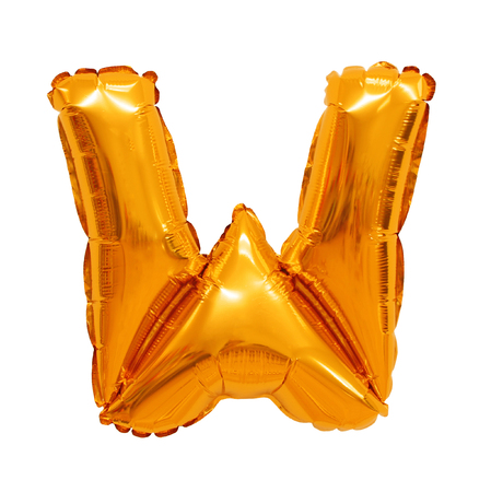 Letter W English alphabet of balloons orange on a white background