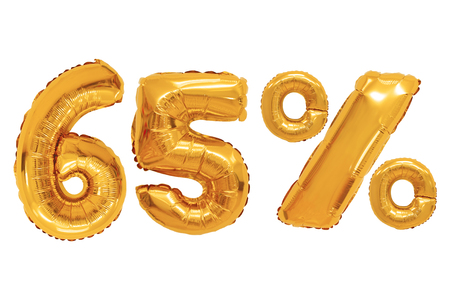 sixty five percent from orange color balloons on isolated background. discounts and sales
