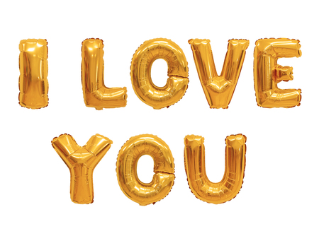 Word i love you in english alphabet from orange balloons on a white background. holidays and education. Stock Photo