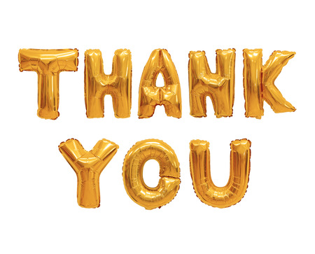 Word thank you in english alphabet from orange balloons on a white background. holidays and education.