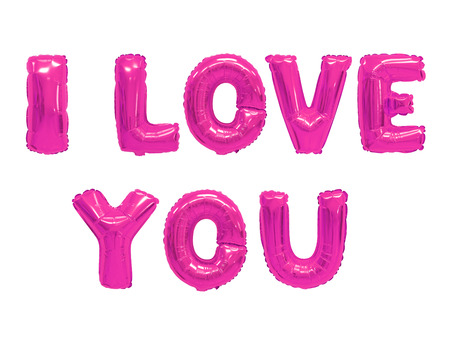 Word i love you in english alphabet from pink balloons on a white background. holidays and education. Stock Photo - 118417026