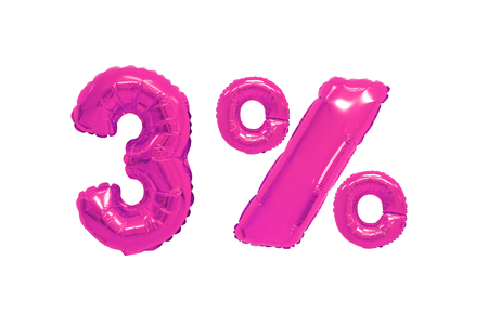 three percent from pink color balloons on isolated background. discounts and sales