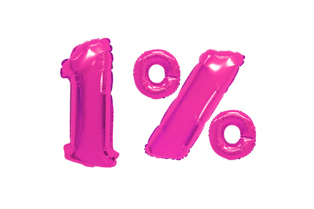 one percent from pink color balloons on isolated background. discounts and sales