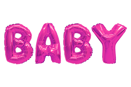 Word baby in english alphabet from pink balloons on a white background. holidays and education. 免版税图像